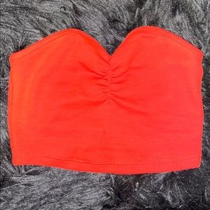 zara red bandeau/tune top
